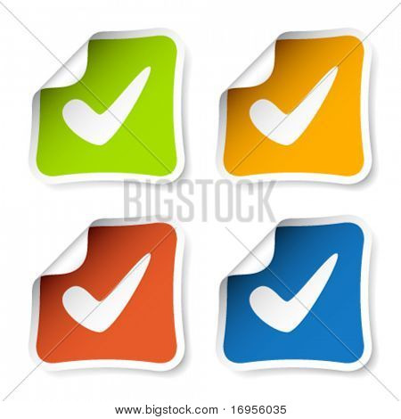 vector positive checkmark stickers
