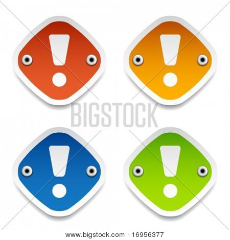 vector exclamation mark labels