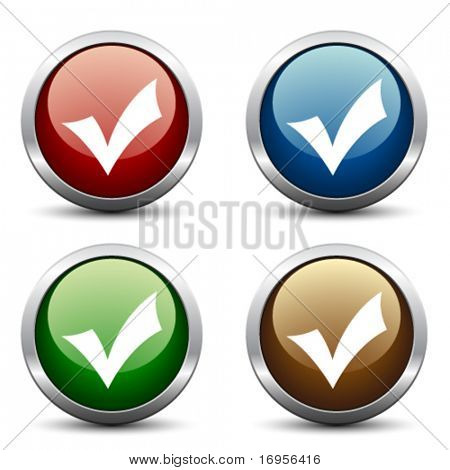 Vector positive check mark buttons