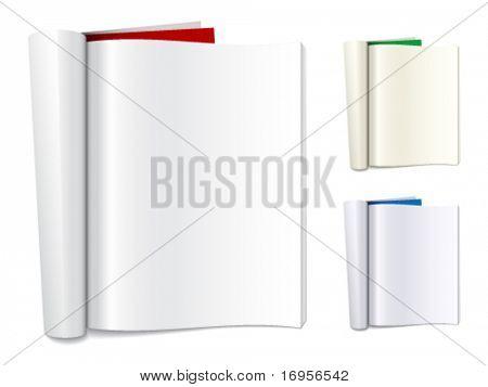 Vector en blanco doblado de revistas