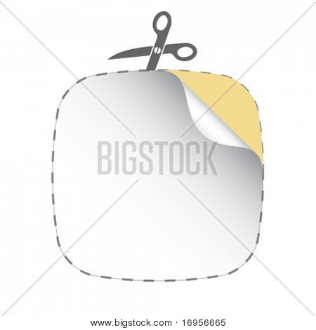 vector scissors cutting white sticker