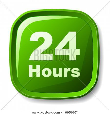 vector green 24 hours button