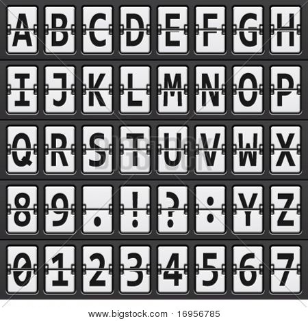 vector alphabet of black and  white mechanical panel
