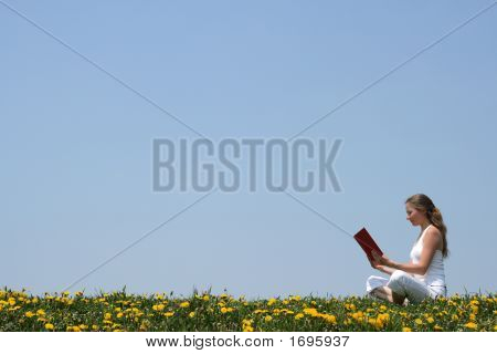 Young Woman Reading A Book Outdoors