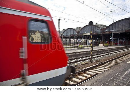 Red Train Enters The Station