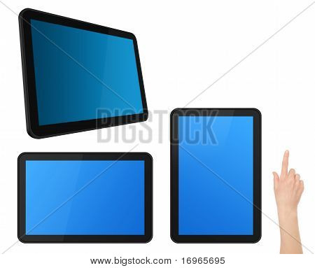 Conjunto de tabletas de pantalla táctil interactiva con mano