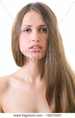 Beautiful young woman with luxuriant healthy long hair