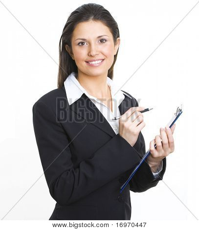 A portrait of a young business woman with a map case