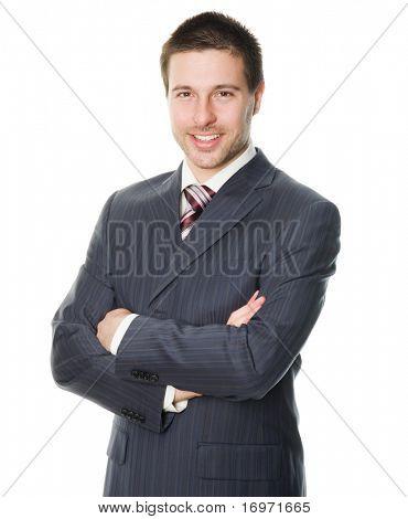 Porträt von lächelnd jung kaufmann stehend vor isoliert weißen Hintergrund