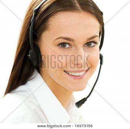 Uma simpática secretária/telefonista sobre o fundo branco