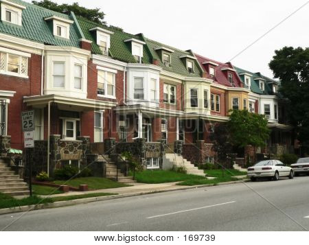 Colorful Townhomes On Residential Street