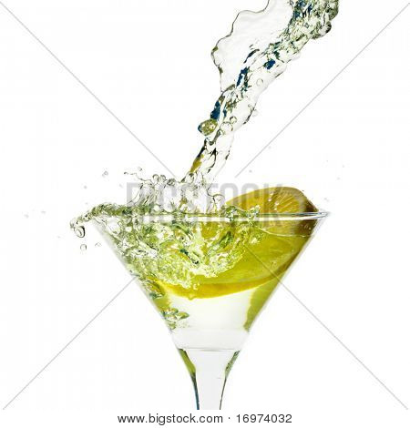 Glass with juice and lemon on the white background
