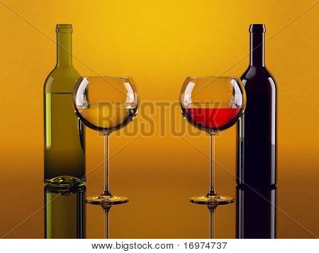 White and red wine glasses with two bottles