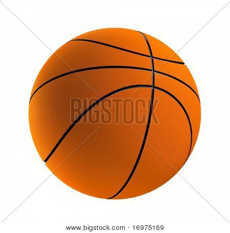 3d render of one basket ball isolated in white background