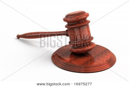 Wooden gavel from the court. 3d render. Isolated on white background
