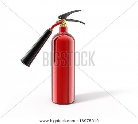 Feuerlöscher, isoliert auf weiss, 3d Render. mit Beschneidungspfad