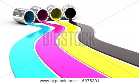 Spilled Cyan, Magenta, Yellow and Black paint
