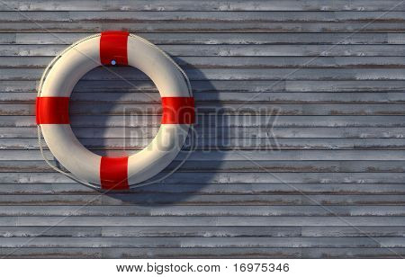 Lifebuoy on wall