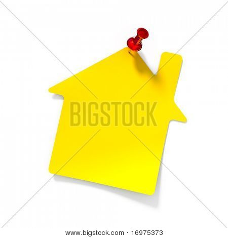 Yellow reminder note with red pin - 3d reder