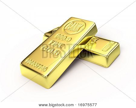 Gold bars on white surface