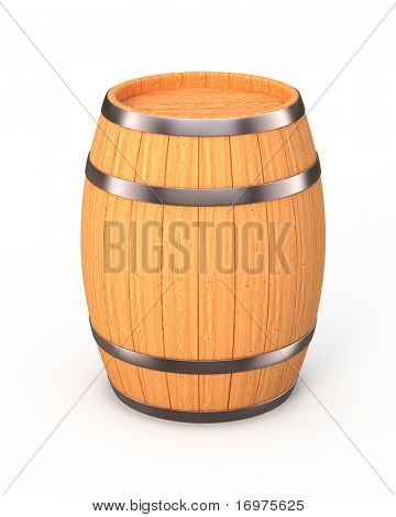 New oak barrel isolated on white - 3d render
