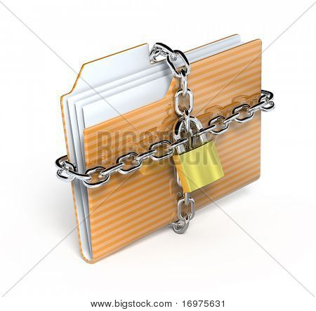 protect folder - 3d render icon