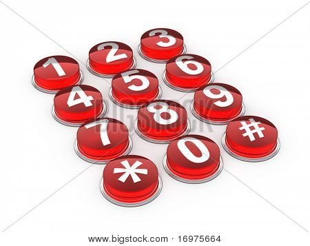 Red telephone buttons on white background - 3d render