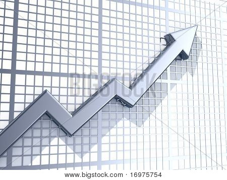 Business graph with upward arrow - 3d render
