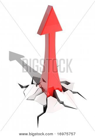 Red arrow directed to top isolated on white background - 3d render