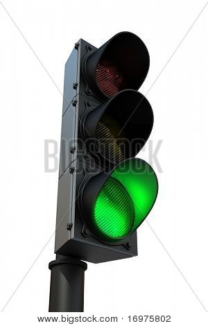 Traffic light with green light - 3d render, isolated on white
