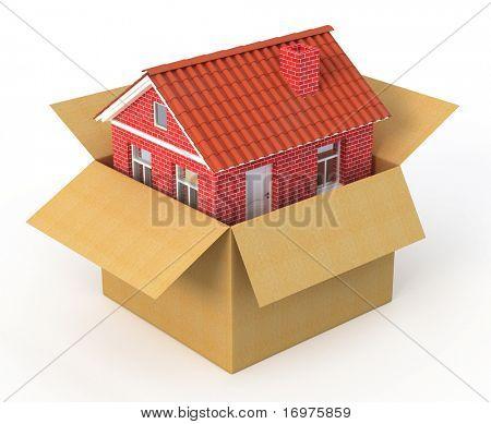 Casa nueva en la caja de cartón - render de 3d de concepto de bienes raíces