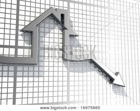 Falling real estate sales - 3d render