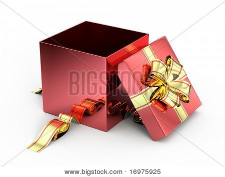 Open red gift isolated on white - 3d render