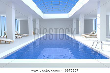 Luxury swimming pool - 3d render