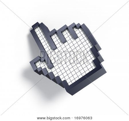 3d hand cursor on white background