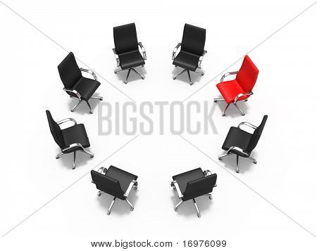 Leadership concept - red chair among black chairs
