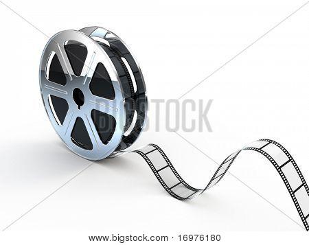 Movie films spool with film
