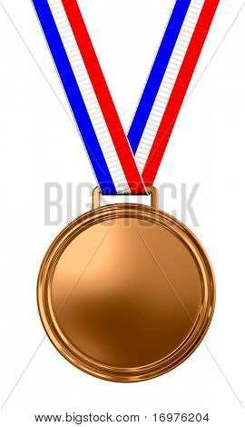 Blank bronze medal with tricolor ribbon - 3d render