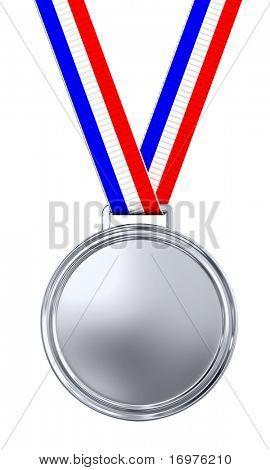 Medalla de oro en blanco con render 3d de cinta tricolor