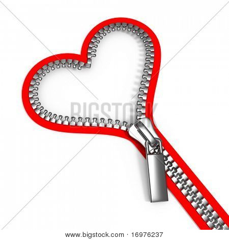 Zipped heart on a white background - 3d render