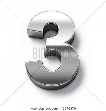 números de metales 3D - número 3