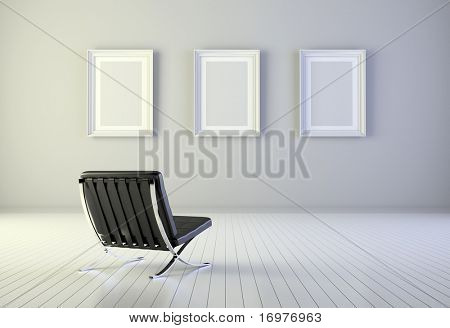 Interior with three blank frames and armchair