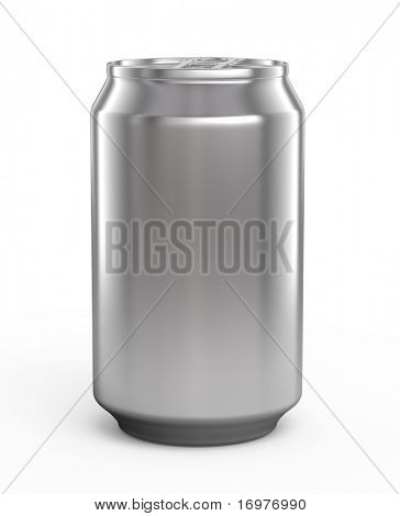 Aluminum beer can isolated over white