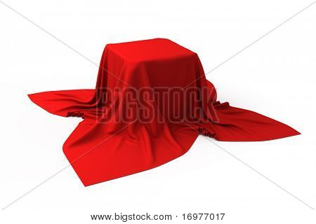 Box covered with a red cloth