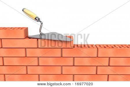 Construcción de pared llana y ladrillos