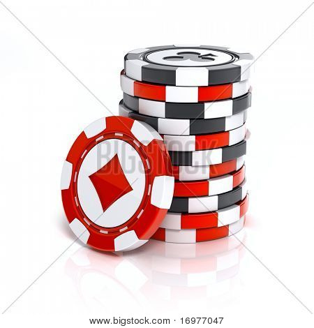 Casino chip stacks over white background