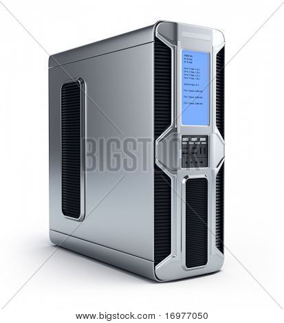 Modern computer server over white background