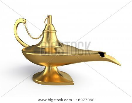 Genie lamp isolated over white background
