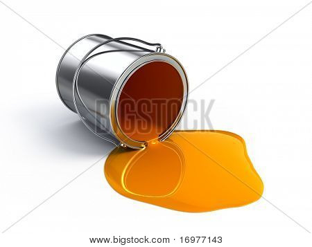 Orange spilled paint