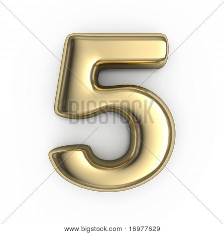 3d gold numbers number 5 stock photo stock images for Large 3d numbers